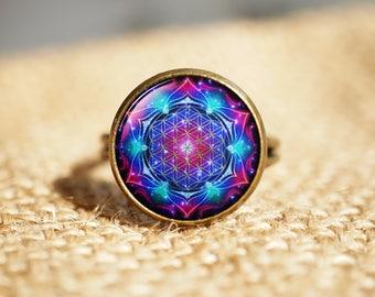 Blue Flower of Life Sacred Geometry rings, Seed Of Life rings,Spiritual rings, Mandala rings, Round rings