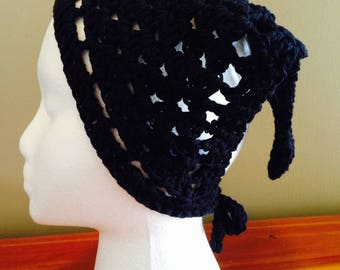 Crochet Kerchief, Hair Bandana, Black