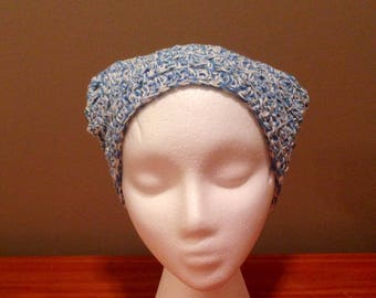 Crochet Kerchief, Hair Bandana, Blue and White with button closure