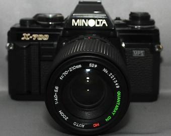 MINOLTA X-700 mps 35mm vintage SLR film camera f/4 70-210mm macro mc lens JAPAN