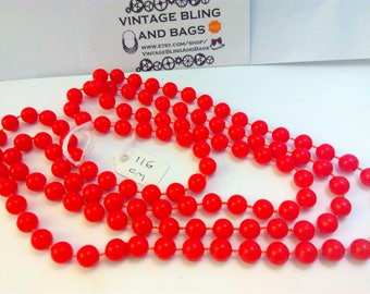 116cm vintage, 1980s, necklace, 80s necklace, bead necklace, red necklace,  vintage necklace, kitsch necklace, vintage bead necklace, retro