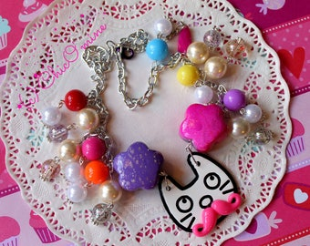 Kooky Cat Mustache Colorful Decorative Dangle Beaded Statement Necklace: Kitsch, Kawaii, Hipster, Whimsical