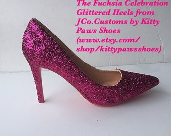 Womens Hot Pink Glittered Holiday Heels from JCo.Customs by Kitty Paws Shoes
