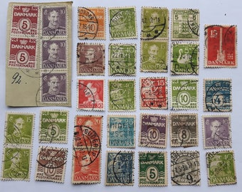 Lot of 33 Old Denmark Postage Stamp 1940's,Old Danmark Postage Stamp