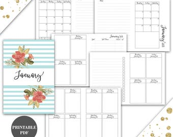 Passport Size Travelers Notebook TN Inserts Printable January 2018 Week on 2 Pages Vertical Instant Download Printable (pj3)