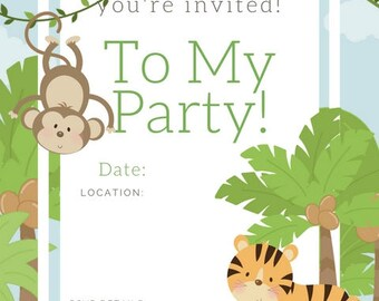 jungle Birthday Invite , birthday party invite