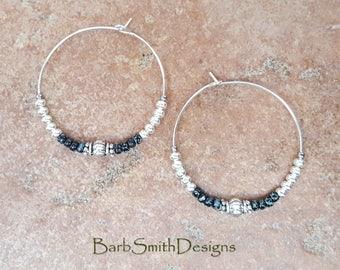 """Beaded Black and Silver Hoop Earrings, Large 1 3/8"""" Diameter in Black Marble n' Bright Silver"""