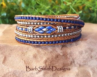 """Blue 5-Wrap Bracelet-Beaded Leather Bracelet-Skinny Wrap-Boho Wrap-Size 6 7/8"""" & Size 8""""-Custom Size-Skinny Mini-5 Wrap in Cobalt n' Silver"""