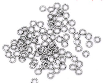 50 jumprings steel stainless 4mm
