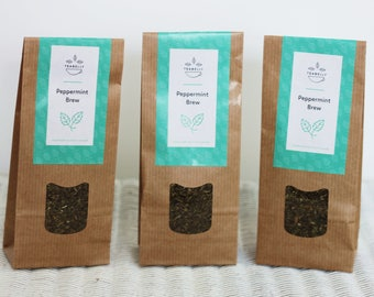 Organic Peppermint Brew teabelly Artisan Herbal Tea Tisane Infusion