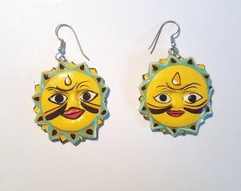 Sun Earrings Wood Earrings Hand Painted Wood Earrings
