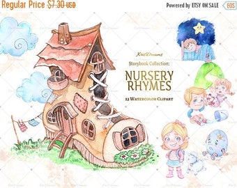 Sale 50% Off Nursery Rhyme Clip Art, Watercolor Clip Art, Children's Book Illustration, Nursery Rhymes Illustration, Jack and Jill, Humpty D