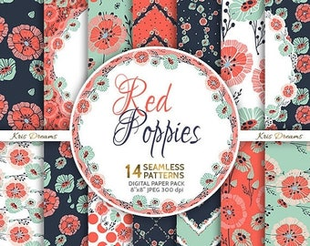 SALE 50% OFF Floral Digital Paper, Seamless Pattern, Instant Download, Floral, Flower Pattern, Leaves, Red flowers, Navy Blue, Mint Green, P