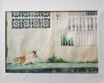 ORIGINAL painting, watercolor, dog, collie, city sidwalk, summer, gift art, 18x24/mounted 22x28