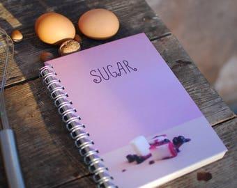 SUGAR Recipe book, Cook book, Recipes book, Notebook, Recipe notebook, Blank book, 180 pages for recipes, Handmade, Paper supplies,Kitchen