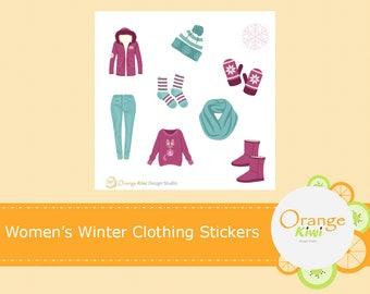 Women's Winter Clothing Stickers, Scrapbooking, Winter Stickers
