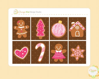 Gingerbread Cookie Planner Stickers, Christmas Full Box Stickers, Erin Condren Life Planner, Filofax, Happy Planner