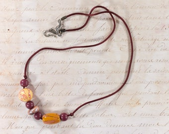 Necklace with painted wooden beads