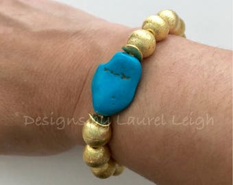 GOLD and Sleeping Beauty TURQUOISE Beaded Bracelet | Authentic, Genuine, Real, gemstone, nugget, high quality, Designs by Laurel Leigh