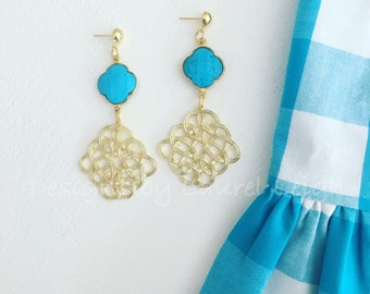 TURQUOISE and GOLD Knot Earrings | lightweight, Designs by, Laurel Leigh, post earrings, statement earrings, clover, quatrefoil