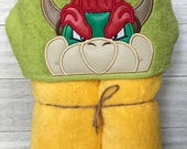 Bowser Hooded Towel, Appliqued Towel, Bath towel, Shower Sheet, OS Fits Most, Valentines day gifts for him