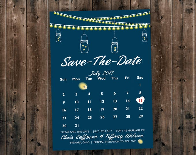 Calendar Country SAVE the DATE cards Printed - Cheap Save the Date cards, Affordable Save the Dates, Lights, Calendar, Navy, Rustic