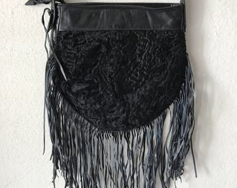 Chic bag from real astrakhan fur&leather with fashionable leather fringe new collection designer bag handmade women's black bag size-small.