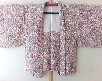 Silk haori jacket, Colorful floral kimono jacket, Japanese haori jacket women, Spring kimono jacket, Kimono cardigan - JA0055VH