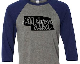 Nebraska t-shirt - Nebraska state shirt - Nebraska home t-shirt - home shirt - Nebraska baseball shirt -Nebraska raglan shirt -Enid and Elle
