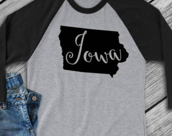Iowa t-shirt - Iowa state shirt -Iowa home t-shirt - home shirt -Iowa baseball shirt - Iowa raglan shirt - Enid and Elle