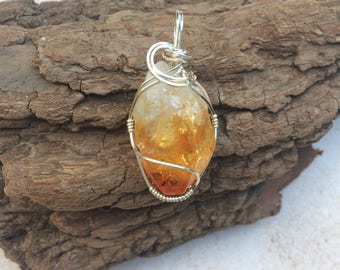 Raw Citrine Wire Wrapped Pendant Sterling Silver, Citrine Necklace, Joy, Personal Power, Confidence, Reiki Charged