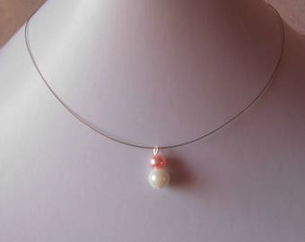 Duo pink and White Pearl bridal necklace