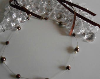 Simple and elegant wedding headband Brown and white pearls