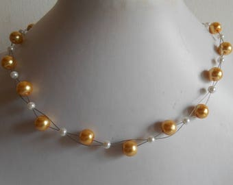 Bridal twist beads yellow and white gold