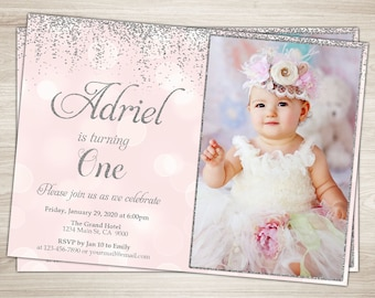 First Birthday Invitation Girl 1st Birthday Invitation Pink and silver glitter First birthday One Blush Pink Confetti printable photo invite
