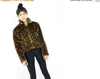 FLASHSALE 40% OFF vtg 90s cheetah leopard print faux fur grunge club kids crop top jacket  S M