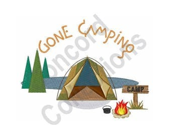 Gone Camping - Machine Embroidery Design, Camping - Machine Embroidery Design