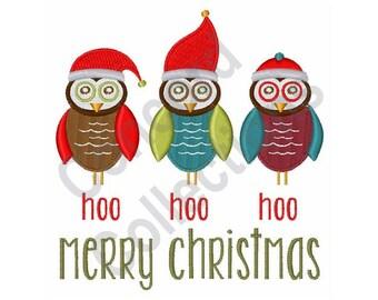 Christmas Owls - Machine Embroidery Design, Hoo Hoo Hoo Merry Christmas - Machine Embroidery Design