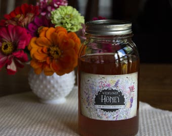 Customized Honey or Mead Label - Vintage Style - Watercolor Wild Flowers - Rectangular Weatherproof Labels