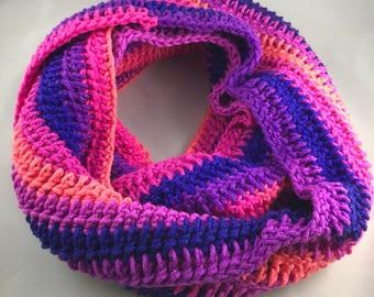 Pink and Purple Striped Infinity Winter Scarf
