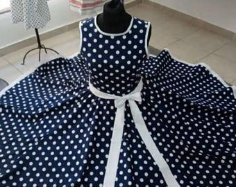 Vintage dress blue with white dots very loose