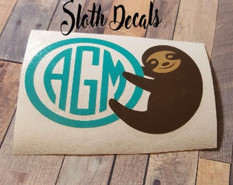 Sloth Decal, Decals for yeti cups, Personalized, Car Decal, Vinyl Decal, Phone Decal, Yeti Decal, Sticker, Accessories,Sloth Monogram