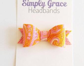 Pink and yellow swirl felt bow | Felt bows | baby headbands