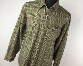 ON SALE Vintage Flannel Shirt L Large 16  16.5 Brown Tan Green Red Plaid Button Down Front Pocket Back Packer Grunge V5