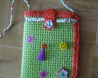 Kids Messenger bag lime/orange edges crocheted bags and recycled rubber plastic
