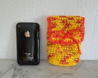 Flip phone cover!, kleenex, Belt pouch, yellow/orange phone case, recycled crocheted bags with plastic case