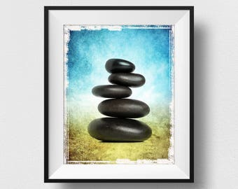 Zen Stones Decor, Meditation Stones Art, Healing Stones Print, Zen Gifts, Zen Stones Bedroom, Zen Chic Decor, Stones Painting (N539)