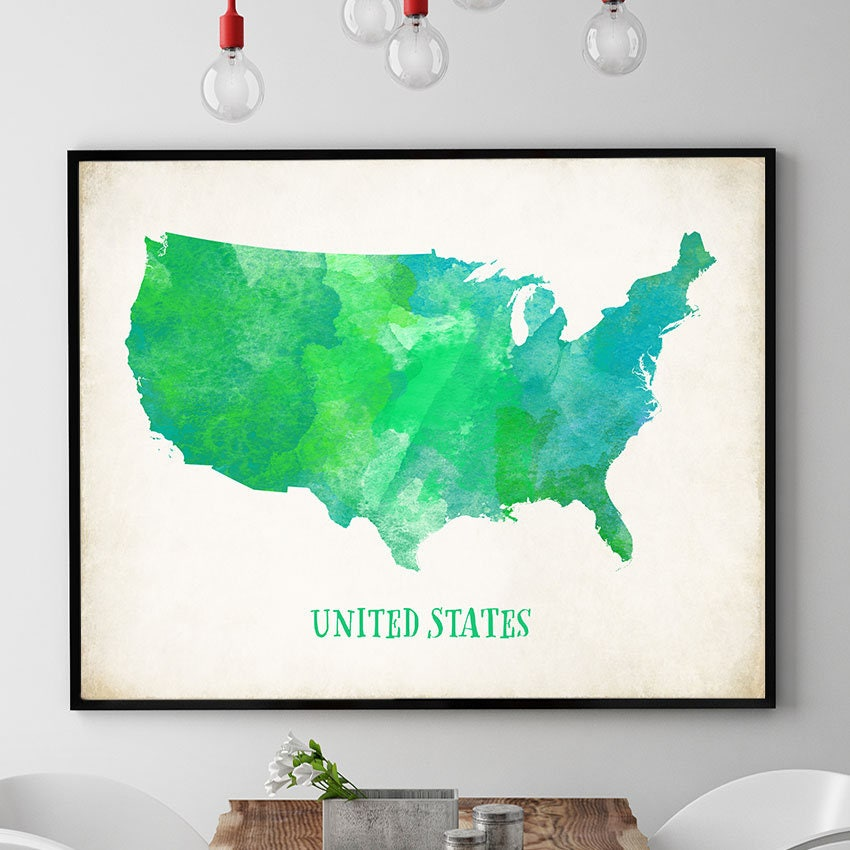 Green US Map Wall Art US Map Poster United States Map Print