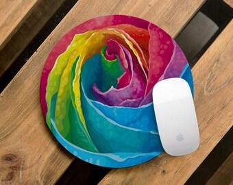 Mouse Pad Colorful Mousepad Round Mouse Pad Modern Mouse Mat Office Decor Rubber Mousepad Flower Desk Accessories Mouse Pad Spring CMP_144