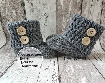 Pattern baby booties, baby uggs, crochet pattern, crochet baby shoes,